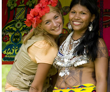 Embera Indigenous Women with Tourist in Panama